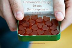 Homemade Cough Drops Heart Candys Made with Lemongrass and Ginger. They are herbal, lemony and taste of honey. Do help a lot for sore throat and a nasty cough. Tutorial via