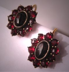 Antique Garnet Earrings - my birthstone Garnet Jewelry, Garnet Earrings, Garnet Gemstone, Silver Jewelry, Jewlery, Red Earrings, Victorian Gold, Victorian Jewelry, Antique Jewelry
