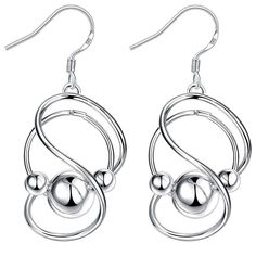 BOHG Jewelry Womens 925 Sterling Silver Plated Twist Infinity Symbol Wire Ball Bead Drop Dangle Earrings => Trust me, this is great! : Women's Fashion for FREE