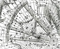 """Octans encompasses the south celestial pole, as shown here in the Uranographia of Johann Bode where it was called Octans Nautica. The octant was the forerunner of the modern sextant. Mona Evans, """"Lacaille's Skies – Arts"""" http://www.bellaonline.com/articles/art184008.asp"""