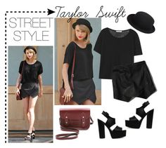 """""""Taylor Swift's street style"""" by nadinajmi ❤ liked on Polyvore featuring The Cambridge Satchel Company, T By Alexander Wang, Abercrombie & Fitch, Comme des Garçons and ASOS"""