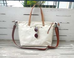 White Waterproof Waxed Canvas Shoulder bag / Tote Bag by ottobags