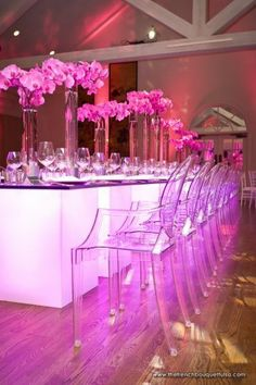 Dramatic Pink Wedding Reception Design - The French Bouquet - Chris Humphrey Photography