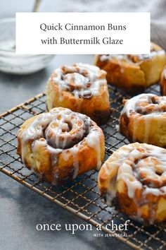 These Quick Cinnamon Buns are perfect for Christmas Morning breakfast! The Buttermilk Glaze is decadent and delicious and will satisfy any sweet tooth! Breakfast Bake, Breakfast Recipes, Dessert Recipes, Morning Breakfast, Breakfast Ideas, Desserts, Square Cake Pans, Bun Recipe, Butter