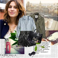 Alexa Chung by stephaniee90 on Polyvore featuring moda, CP Shades, Acne Studios, Karl Lagerfeld, Yves Saint Laurent, Versace, NARS Cosmetics, Bobbi Brown Cosmetics, WALL and Post-It