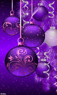 *A Purple Christmas! Christmas Scenes, Noel Christmas, Christmas Pictures, Christmas Greetings, Winter Christmas, Christmas Bulbs, Christmas Decorations, Xmas, Purple Christmas