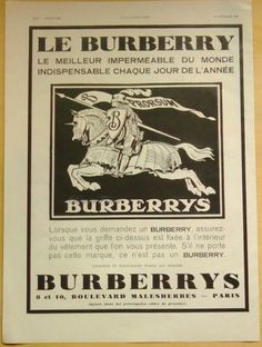 Art Deco Vintage French Ad for Burberry   1929 by reveriefrance on Etsy