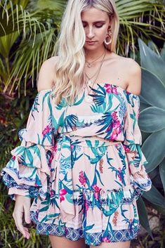 c524cbb10c25 Off shoulder Mini Dress Belair in Passionfruit Print. OutDazl