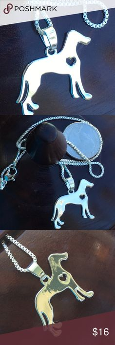 Great Dane ❤️ lover silver plated necklace Fun dog  with heart ❤️ on box chain. Lobster claw clasp Jewelry Necklaces
