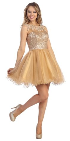 A fun and flirty short ruffle dress with sequin bodice top and sequin detailing around shoulders