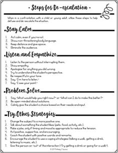 De-escalation Strategies Guide by Pathway 2 Success Classroom Behavior Management, Behaviour Management, Anger Management For Adults, Anger Management Activities, Therapy Worksheets, Therapy Activities, Play Therapy, Counseling Activities, School Counseling