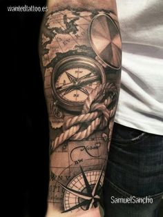 What does pirate tattoo mean? We have pirate tattoo ideas, designs, symbolism and we explain the meaning behind the tattoo. Map Tattoos, Body Art Tattoos, Sleeve Tattoos, Tatoos, Pirate Tattoo Sleeve, Anchor Tattoos, Cool Forearm Tattoos, Forearm Tattoo Design, Diy Tattoo