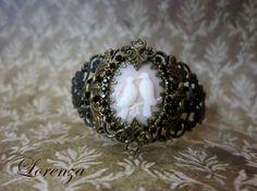 Bracelet style victorien filigranes et crystal noir par lorenza33, $48.00