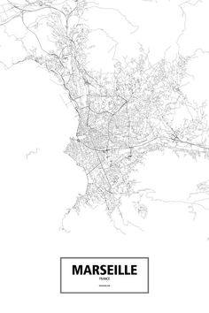 Marseille, France poster - Routelines: detailed posters and prints of cities and their roads