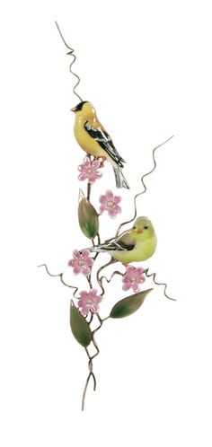 """""""Goldfinch with Pink Asters"""" Bovano of Cheshire Metal, glass enamel over copper @Earthwood Galleries"""