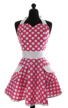 Womens Sweetheart Neckline Hot Pink Minnie Dots by bambinoamore, $31.95