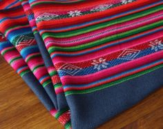 South American Fabric, Aguayo, Woven Textile, Blue Grey Stripes