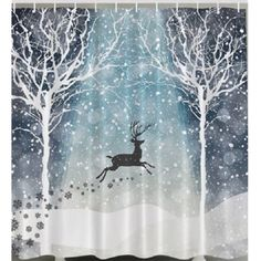 """Serene image of reindeer flying through the snow. Create a winter wonderland bathroom. Specifications: Material: Polyester Fabric Size: about 180 cm / 70.86"""" x 180 cm / 70.86 Conversion: 1 cm - 0.3937"""