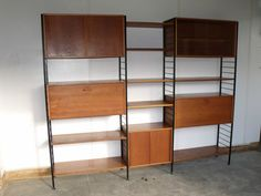 196070s teak 3 bay Ladderax free standing modular shelving wall unit by Staples | eBay