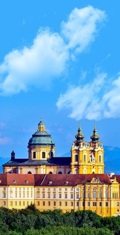 The view of the Melk Abbey along the Danube River in Austria.