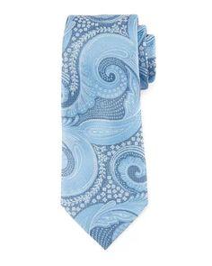 Ermenegildo Zegna Paisley Floral Silk Tie, Blue