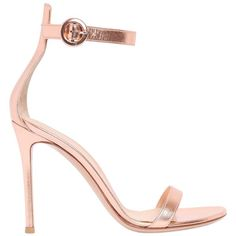 Gianvito Rossi Women 100mm Portofino Metallic Leather Sandals ($825) ❤ liked on Polyvore featuring shoes, sandals, powder pink, pink sandals, leather sole shoes, metallic sandals, pink shoes and leather high heel sandals
