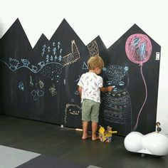 Chalkboard paint in the shape of mountains