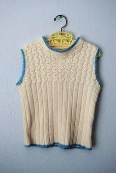 vintage cream sweater vest