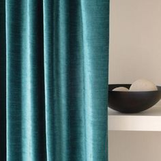 Clarke And Clarke   Paris Fabric Collection   Turquoise Velvet Curtain