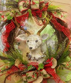 Love the organic feeling of this wreath. I carved the head out of dry foam and covered it with birch bark.