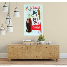 Wall decals are a fun way to decorate. They apply to flat surfaces easily and remove cleanly. Made in the USA. Available in and sizes. Retro Living Rooms, Living Room Decor, Coca Cola Decor, Yard Ornaments, Metal Panels, Panel Art, Coke, Wall Decals, Decorating Ideas