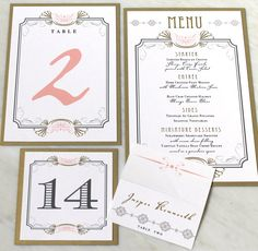 Art Deco Love - Menu Cards, Table Numbers, Tented Place Cards - Purchase to Start the Ordering Process