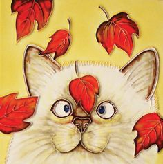 """8""""x8"""" Hand Crafted Decorative Art Tile - Feline Cat With Red Leaves by En Vogue Art On Tile. $19.50"""