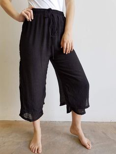 Two Layered Drawstring Pants Wooden Buttons semi-sheer cotton blend. Black.