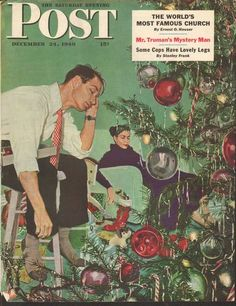 Dec 24 1949 Saturday Evening Post Magazine Cover Print Christmas Tree | eBay