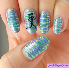 Painted Fingertips | Running girl nail art