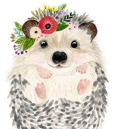 Woodland Nursery Nursery Print Set of 3 Raccoon Painting Bear Hedgehog Baby Forest Kids Poster Girl Nurse Baby Shower Gift Animal Paintings, Animal Drawings, Cute Drawings, Nursery Prints, Nursery Art, Nursery Paintings, Watercolor Animals, Watercolor Paintings, Baby Hedgehog