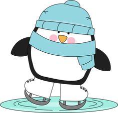 Penguin skating on ice.