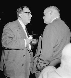 """""""Reputed mobster Joseph Profaci, left, talks to attorney Edward G. Tighe just… Mafia, Colombo Crime Family, Real Gangster, The Fam, To Tell, Joseph, Mobsters, New York, Gangsters"""