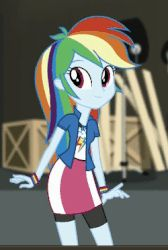 Size: 250x372 | Tagged: animated, clothes, cropped, cute, dashabetes, equestria girls, eyes closed, female, geode of super speed, gif, loop, magical geodes, movie magic, rainbow dash, safe, screencap, skirt, solo, spoiler:eqg specials