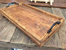 Rustic Wooden Serving Tray made from reclaimed pallet wood Rustic Wooden Serving Tray made from reclaimed by PalletGenesis The post Rustic Wooden Serving Tray made from reclaimed pallet wood appeared first on Pallet Diy. Wooden Pallet Crafts, Wood Pallet Furniture, Wooden Pallets, Wooden Diy, Pallet Wood, Wooden Trays, Furniture Vintage, Industrial Furniture, Vintage Industrial