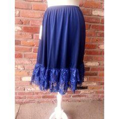 Navy Blue Ruffle Extender Slip Skirt Extender Dress Extender Petticoat... ($38) ❤ liked on Polyvore featuring black, skirts, women's clothing, short slip, navy blue slip, ruffle slip, navy slip и lacy slip