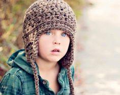 Kids Clothing - Boys Hat - Aviator Hat - Brown Tweed  www.nelleandlizzy.com