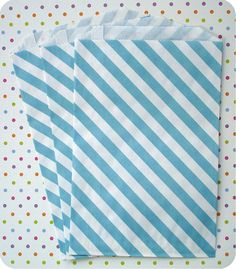 Stripe bags. Candy Bar Wedding, Striped Bags, Kraft Paper, Paper Goods, Blue Stripes, Paper Bags, Quilts, Blanket, Handmade Gifts