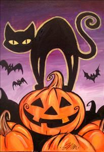 Halloween Cat - Tallahassee, FL Painting Class - Painting with a Twist