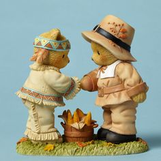 Cherished Teddies Harvest Thanksgiving Buck Daniel Indian Pilgrim Bears 4047370