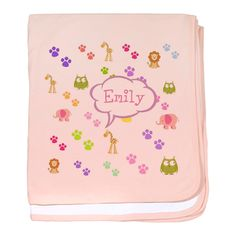 Personalize it! Zoo Animals -pink baby blanket - PERSONALIZE OnLINE!  Fun zoo animals design filled with elephants,owls,giraffes,lions and animal footprints;  SO cute! see all our fun products with this desing in our store www.cafepress.com/drapestudio and our other designs at www.drapestudio.com