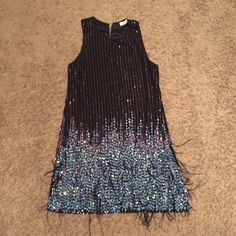 sequin dress Parker sequin dress worn once! slip on, buttons at the back top. has a few ostrich feathers. Parker Dresses Mini
