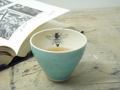 One Porcelain Blue Bee Tea Cup by FaithAdamsCeramics on Etsy, $14.00