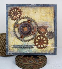 Donna Salazar Designs: Masculine Mixed Media Card with Faux Metal Gears by Tracey Sabella